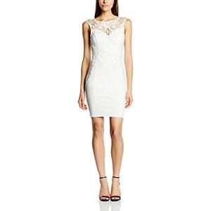Michelle Keegan Damen Schlauch Kleid White Lace Applique Shift, Knielang