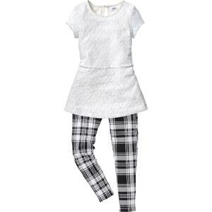 bpc bonprix collection T-shirt dentelle + legging (Ens. 2 pces.), T. 116-170 blanc manches longues enfant - bonprix