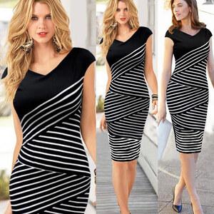 Lesara Ärmelloses Kleid Schwarz-Weiß - S