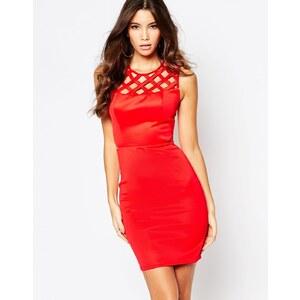 Fleur East By Lipsy - Figurbetontes Kleid mit Cut-Out in der Taille und Gitterdetail - Rot