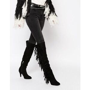 Glamorous - Overknee-Stiefel mit Absatz und Fransen - Schwarz