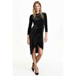 H&M Robe en velours à effet drapé