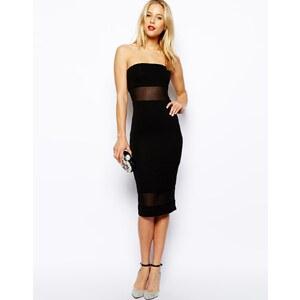 ASOS - Knielanges Bandeau-Kleid mit Netzstoffeinsatz - Schwarz