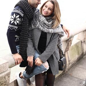 Lesara Manteau en tweed avec col à revers