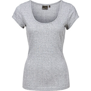 RAINBOW Ripp-Shirt mit Rückendetail kurzer Arm in grau für Damen von bonprix