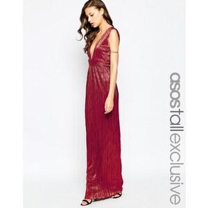 ASOS TALL - Langes Schlauchkleid mit tiefem Ausschnitt - Rot