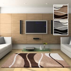 Lesara Shaggy Hochflor-Teppich mit Muster - Beige - 80 x 150 cm