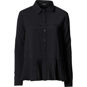 BODYFLIRT Plisseé-Bluse langarm in schwarz von bonprix