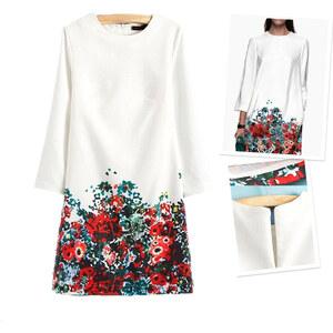 Lesara Kleid mit Blumen-Muster - Weiß - XL