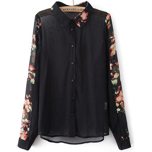 SheInside Black Lapel Contrast Floral Long Sleeve Blouse