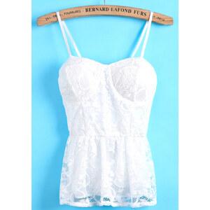 SheInside White Spaghetti Strap Lace Pleated Vest