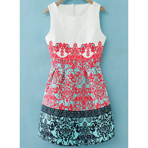 SheInside White Sleeveless Red Green Floral Embroidered Dress