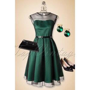 Lindy Bop 50s Aleena Polka Dot Prom Dress in Emerald Green