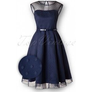 Lindy Bop 50s Aleena Polka Dot Prom Dress in Navy