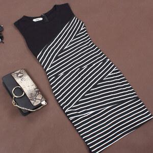 Lesara Ärmelloses Kleid im Streifen-Design - Schwarz - XS