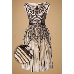 Little Mistress 50s Adela Dress in Cream and Black