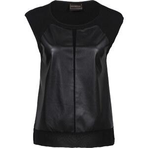 RAINBOW Shirt mit Lederimitat kurzer Arm in schwarz für Damen von bonprix