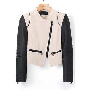 SheInside Khaki Contrast Leather Long Sleeve Crop Jacket