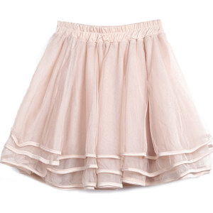 SheInside Apricot Elastic Waist Cascading Ruffle Lace Skirt