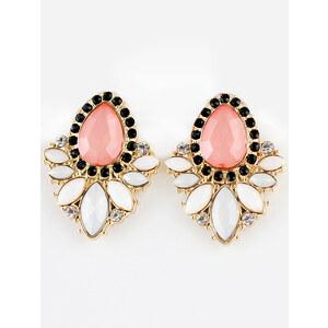 SheInside Pink White Gemstone Gold Diamond Earrings
