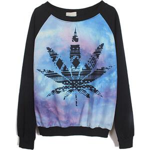 SheInside Black Long Sleeve Galaxy Maple Leaf Print Sweatshirt