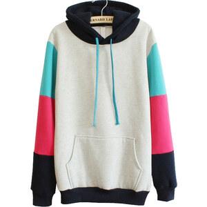 SheInside Grey Hooded Contrast Long Sleeve Pocket Sweatshirt
