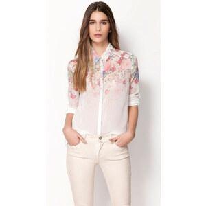 SheInside White Long Sleeve Floral Chiffon Blouse