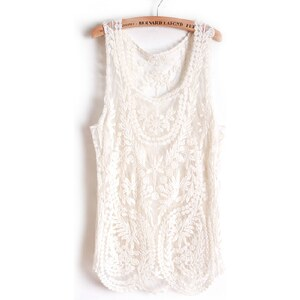 SheInside Beige Sleeveless Leaf Sheer Crochet Lace Vest