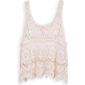 SheInside Beige Scoop Neck Sleeveless Lace Vest