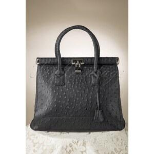 Milan Ostrich Black Handbag