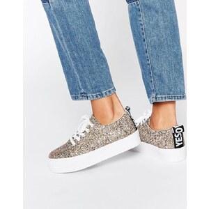 ASOS DACRE - Flache Sneakers zum Schnüren, mit Glitzer - Glitzer