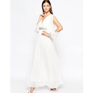 Club L - Maxi robe à manches longues avec bordures en strass - Crème