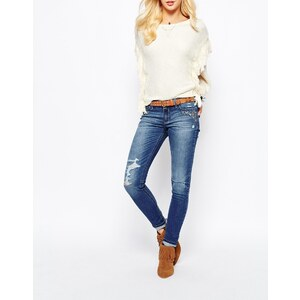 Hollister - Superenge Jeans mit Stickerei - Mittelblau
