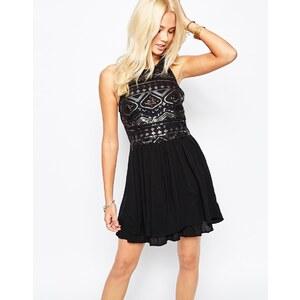 Hollister – Kleid mit Paillettenverzierung - Schwarz