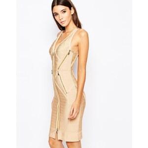 Wow Couture - Figurbetontes Bandadgen-Kleid mit Reißverschlüssen - Rosa