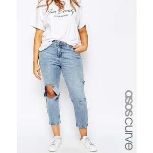 ASOS Curve - Thea - Girlfriend-Jeans in heller Daydrift-Waschung - hellblaue Waschung