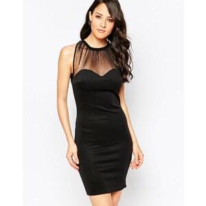 Club L - Essentials - Figurbetontes Kleid mit Netzeinsatz - Schwarz