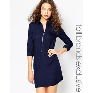 Noisy May - Tall - Langärmliges Kleid mit durchgehendem Reißverschluss - Marineblau
