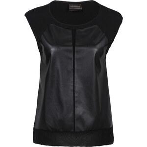 RAINBOW Top en synthétique imitation cuir noir manches courtes femme - bonprix