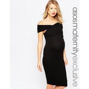 ASOS Maternity - Robe moulante mi-longue avec épaules torsadées - Noir