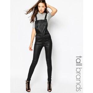 Vero Moda Tall - Salopette aspect cuir - Noir