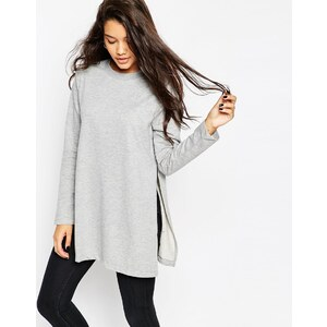 ASOS - Lang geschnittenes Sweatshirt mit seitlichen Schlitzen - Grau