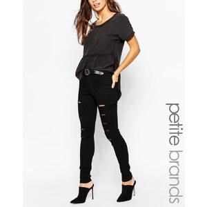 Noisy May Petite - Enge Jeans mit großen Rissen - Schwarz