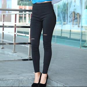 Lesara Pantalon skinny taille haute avec découpes