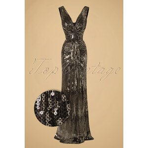Vintage Chic 30s Virginia Maxi Party Dress in Gold