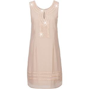 BODYFLIRT Kleid mit Steinchen-Applikation ohne Ärmel in beige von bonprix