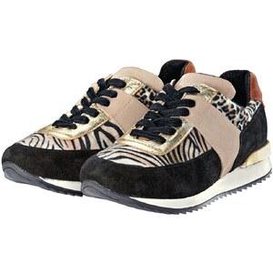 Passarella Sneaker, Animal-Look, Materialmix, zweifarbig