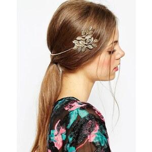 ASOS - Schwarzes Haarband mit seitlicher Blattverzierung - Gold