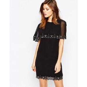 Warehouse - Verziertes Kleid mit Muschelsaum - Schwarz