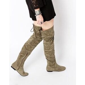 Daisy Street - Flache Overknee-Stiefel mit Schnürung hinten, in Khaki - Grün
